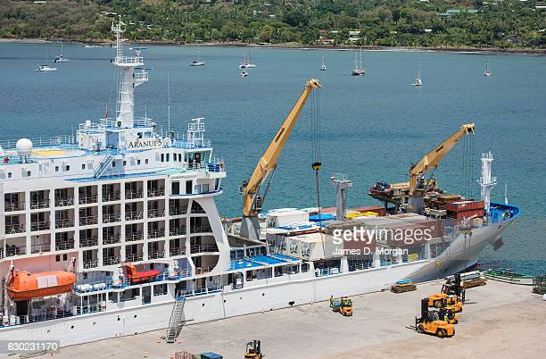 The Aranui 5 freighter and cruise ship delivering Christmas goods on December 04 2016 in the Marquesa Islands French Polynesia One of the world's...