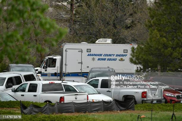 The Arapahoe County Bomb Squad leaves the parking lot of the STEM school after a shooting took place at the school on May 7, 2019 in Highlands Ranch,...