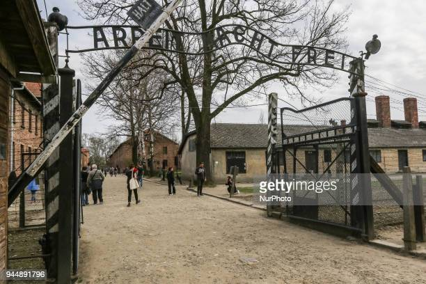 The Arbeit Macht Frei gate to the Death Camp is seen in Auschwitz I Death Camp in Oswiecim Poland on 11 April 2018 Taking place annually on Yom...