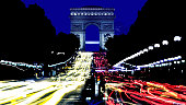 The Arc de Triomphe and traffic on the Champs Elysee,