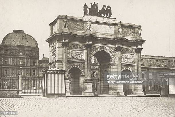 The Arc de Triomphe du Carrousel on the Place du Carrousel in Paris circa 1860 The Palais des Tuileries which burnt down in 1871 stands behind