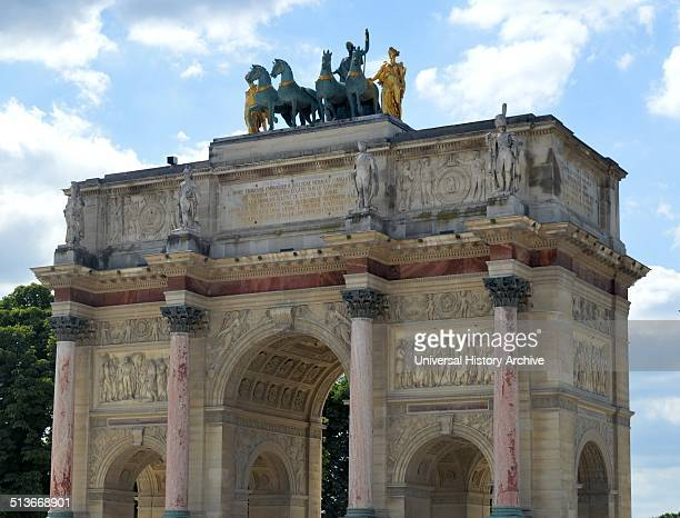 The Arc de Triomphe du Carrousel triumphal arch in Paris located in the Place du Carrousel on the site of the former Tuileries Palace It was built...