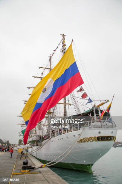 The ARC Gloria training ship and official flagship of the Colombian Navy is seen during the Velas Latinoamerica 2018 Nautical Festival at Callao...