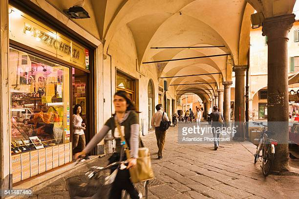 The arcades of Borgo (street) Stretto