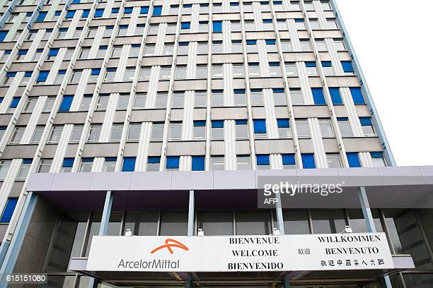 The ArcelorMittal headquarters building is pictured as the French President takes part in a meeting with ArcelorMittal management and trade unions...