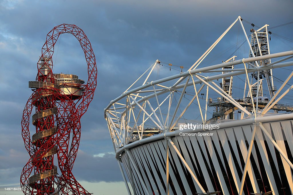 The ArcelorMittal Orbit and Olympics Stadium are seen at Olympic Park on August 2, 2012 in London, England.