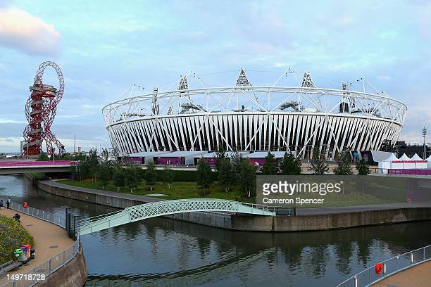 The ArcelorMittal Orbit and Olympics Stadium are seen at Olympic Park on August 2 2012 in London England