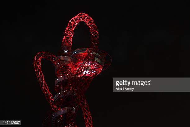 The ArcelorMittal Orbit designed by Anish Kapoor and Cecil Balmond is seen after the Opening Ceremony of the London 2012 Olympic Games at the Olympic...