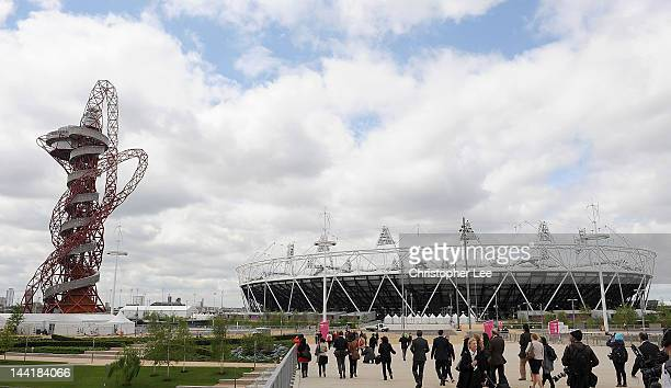 The ArcelorMittal ORBIT during the sculpture's official unveiling in the Olympic Park on May 11 2012 in London England