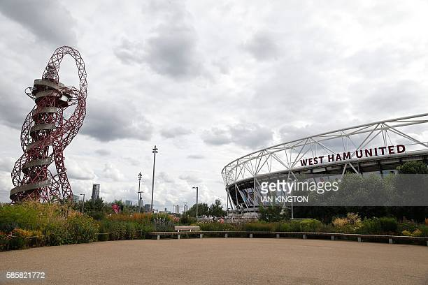 The ArcelorMittal Orbit sculpture is pictured alongside the London Stadium ahead of the qualifying third round second leg Europa League football...