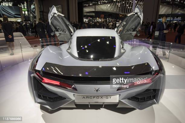 The Arcfox GT Concept electric sports car produced by BAIC Motor Corp stands on display at the Auto Shanghai 2019 show in Shanghai China on Tuesday...