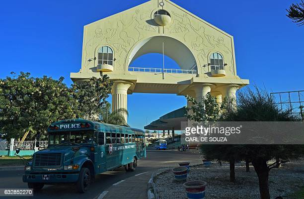 The Arch 22 monument to mark the July 22, 1994 bloodless coup led by former President Yahya Jammeh is pictured in Banjul on January 24, 2017. / AFP /...