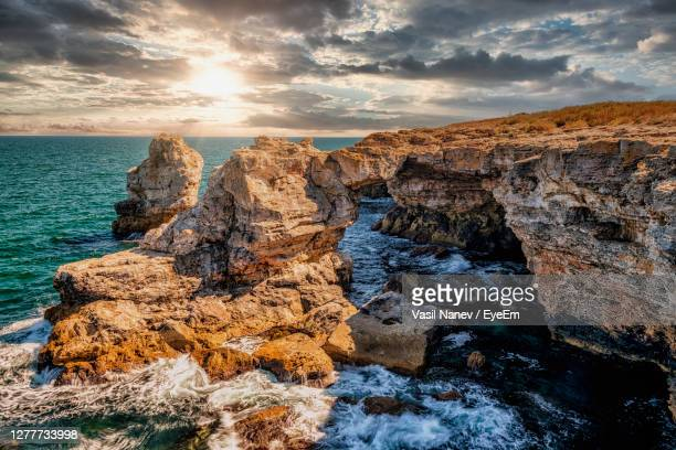 the arch is rock phenomenon on the black sea - light natural phenomenon stock pictures, royalty-free photos & images