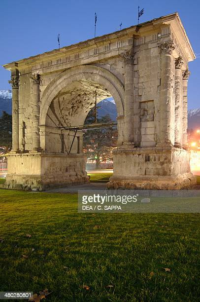 The Arch of Augustus built in 25 BC to mark the Roman victory over the Salassi by the Roman consul Aulus Varro Aosta Valle d' Aosta Italy Early...