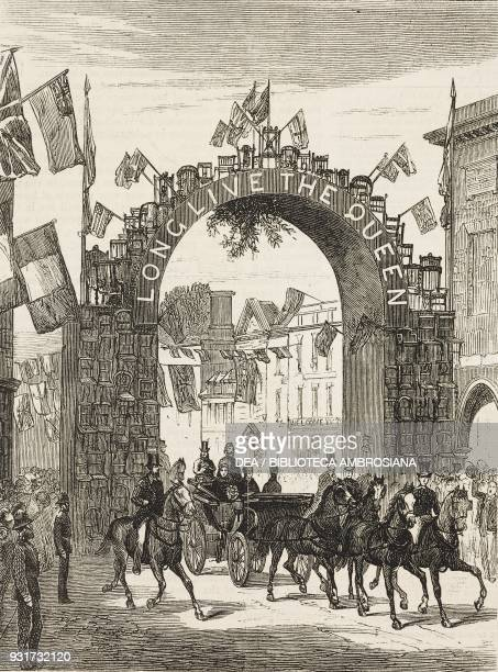 The arch of chairs, Queen Victoria's visit to Hughenden Manor, High Wycombe, United Kingdom, illustration from the magazine The Graphic, volume XVI,...