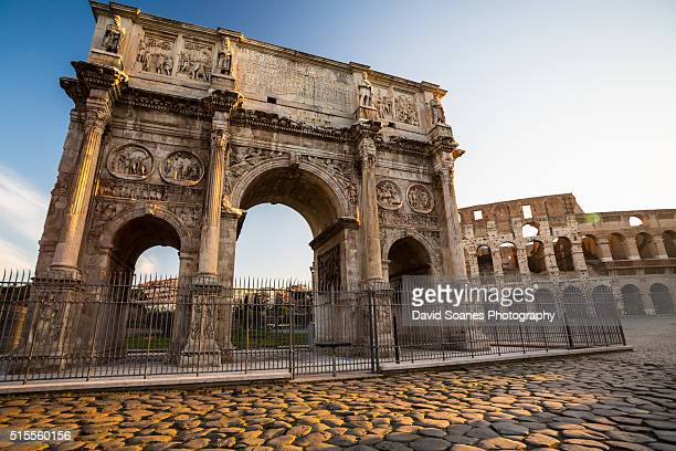 The Arch of Constantine at sunrise in Rome, Italy