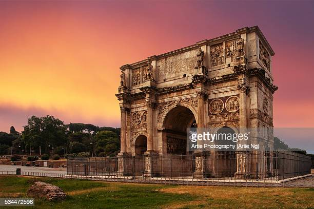 The Arch of Constantine (Arco di Costantino) Between the Colosseum and the Palatine Hill, Rome, Italy