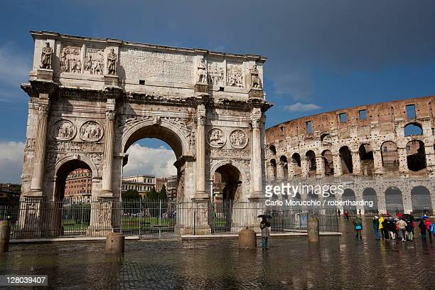 The Arch of Constantine with the Colosseum in the background, UNESCO World Heritage Site, Rome, Lazio, Italy, Europe