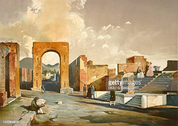 The Arch of Fortune from Pompei Volume II Table XI by Fausto and Felice Niccolini Italy 19th Century