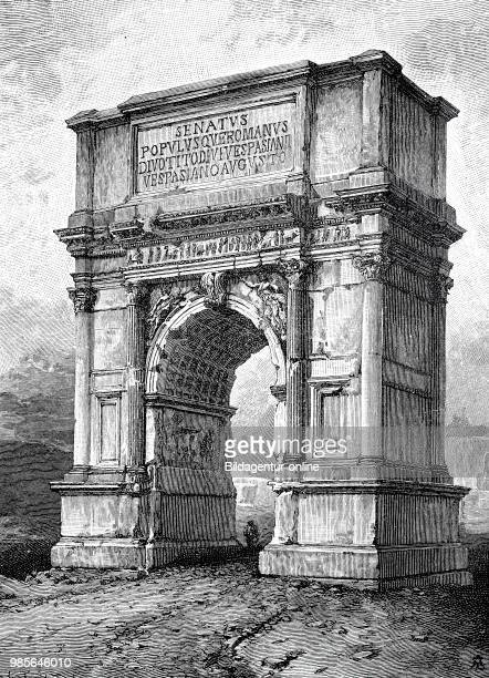 The Arch of Titus Italian Arco di Tito is a monastic triumphal arch on the Velia in Rome built around AD 82 stands on the archaeological grounds of...