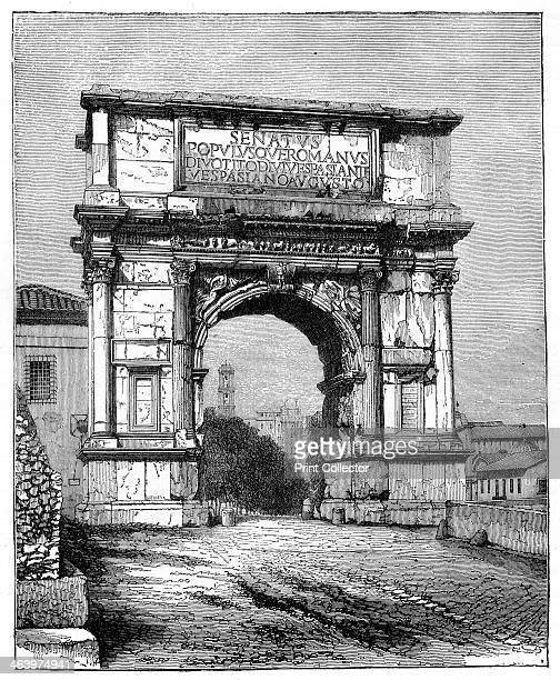 The Arch of Titus Rome Italy 1882 The Arch of Titus is a Pentelic marble triumphal arch with a single arched opening located on the Via Sacra just to...