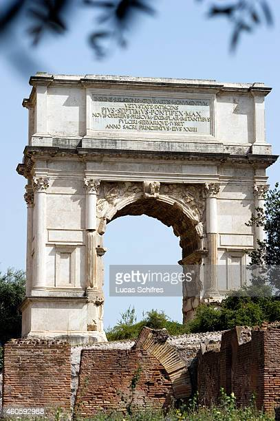 The Arch of Titus stands in the Roman Forum on August 6 in Rome Italy Rome the capital of Italy was legendarily founded in 753 BC Successively the...