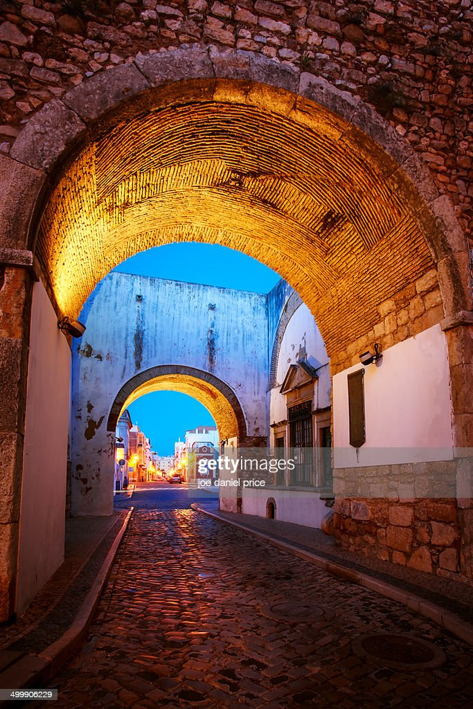 The Arch, Old Town of Faro, Algarve, Portuga : Stock Photo