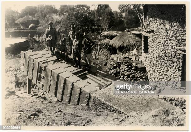 The archaeologist Ugo Monneret de Villard and the Italian military personnel recovering a stele to transport it to Italy Axum Ethiopia 19351936