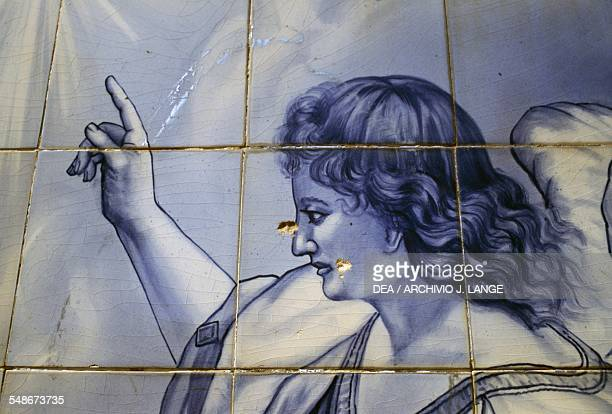 The Archangel Gabriel Annunciation to Mary decoration in azulejo tiles on the steps of the Shrine of Our Lady of Remedies Lamego Norte Portugal 18th...