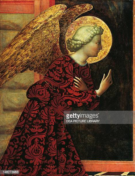 The archangel Gabriel ca 1430 by Masolino tempera on panel 766x578 cm Washington National Gallery Of Art