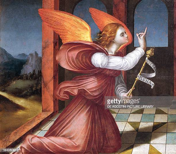 The archangel Gabriel detail from the Annunciation Flemish art 16th century Mexico City Museo De San Carlos