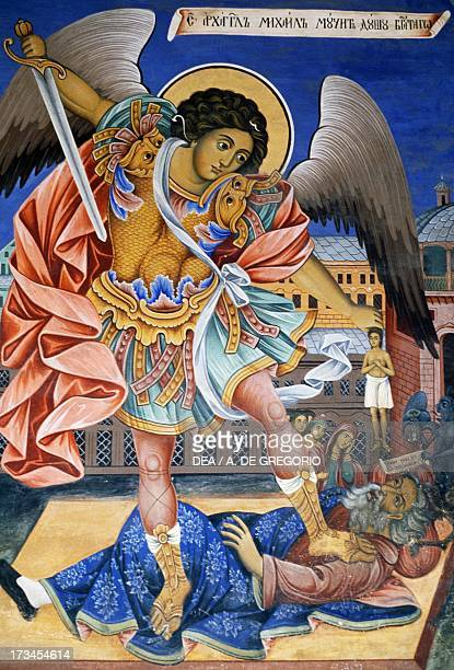 The Archangel Michael crushing Satan fresco of the porch Rila Monastery Bulgaria