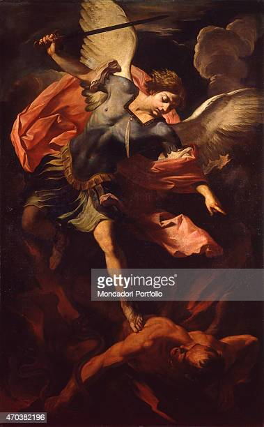 'The Archangel Michael defeating Lucifer by Panfilo Nuvolone 17th century oil on canvas Italy Lombardy Milan Castello Sforzesco Museum of Ancient Art...