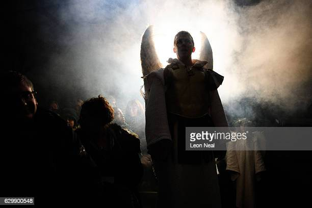 The Archangel Michael played by Sam Lane appears during a performance of the Nativity at Wintershall on December 14 2016 in Guildford England Held in...
