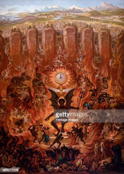 The Archangel Michael Throwing Satan out of Heaven from a Catechism by La Bonne Presse pub 1912 colour lithograph