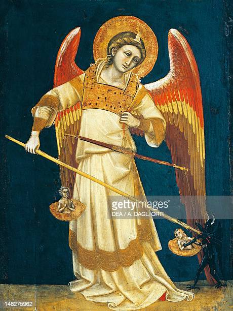 The archangel Michael weighing souls ca 1354 by Guariento tempera on panel Padova Musei Civici Eremitani Museo D'Arte Medievale E Moderna