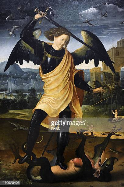 The Archangel Michael with the dragon c1500 Unknow Spanish author National Museum of Art Copenhagen Denmark