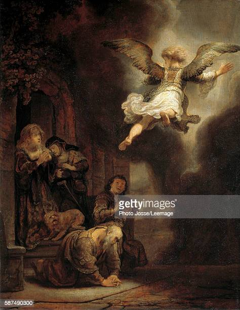 The archangel Raphael leaving the family of Tobie Painting by Harmensz Van Rijn Rembrandt 1637 066 x 052 m Louvre Museum Paris