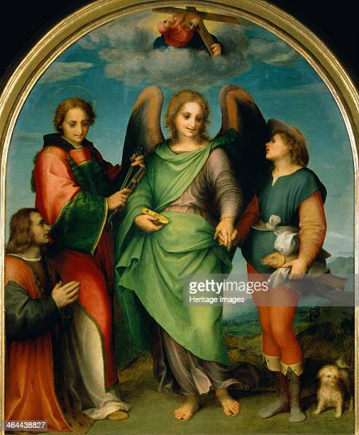 The Archangel Raphael with Tobias St Lawrence and the Donor Leonardo di Lorenzo Morelli 1512 Found in the collection of the Art History Museum Vienne