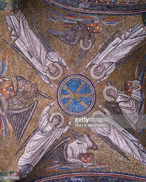 The Archangels Michael Gabriel Raphael and Uriel holding the Crismon with gold letters mosaic cross vault of St Andrew Chapel Archbishop's palace...
