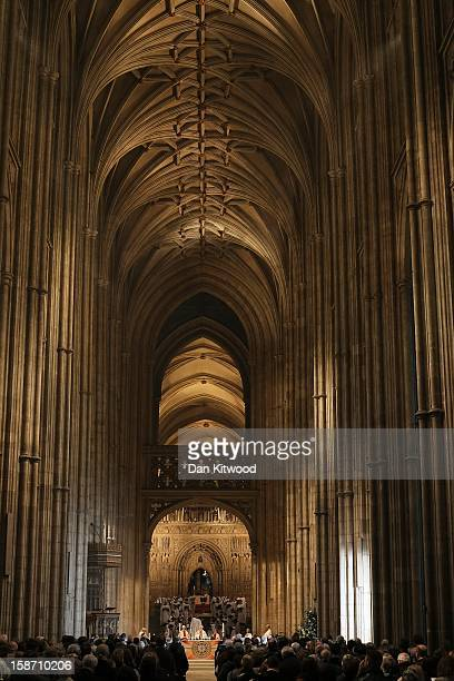 The Archbishop of Canterbury Dr Rowan Williams leads the Christmas Day service at Canterbury Cathedral on December 25 2012 in Canterbury England Dr...