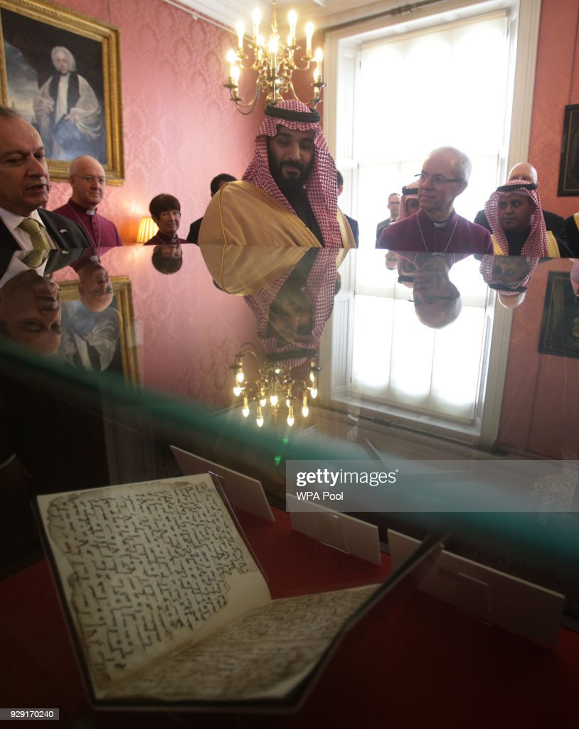 The Archbishop of Canterbury Justin Welby (2nd right) accompanies the Crown Prince of Saudi Arabia, HRH Mohammed bin Salman, as they view The Birmingham Qur'an manuscript - one of the earliest surviving records of the Qur'an, written in Hijazi, and radiocarbon dated to between 568 and 645 AD - at a private meeting at Lambeth Palace hosted by the Archbishop of Canterbury Justin Welby on March 8, 2018 in London, United Kingdom.