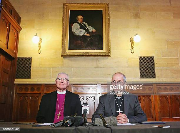 The Archbishop of Canterbury Justin Welby and Archbishop Philip Freier speak during a press conference ahead of Archbishop Philip Freier's...