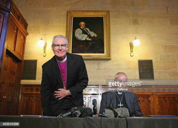 The Archbishop of Canterbury Justin Welby and Archbishop Philip Freier arrive to attend a press conference ahead of Archbishop Philip Freier's...
