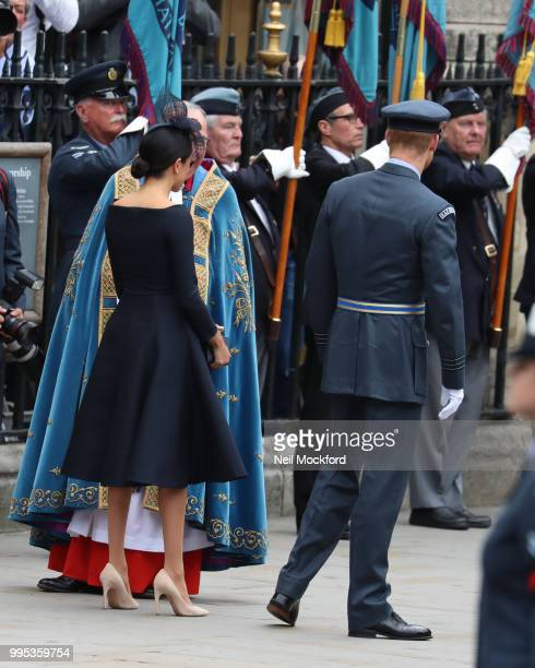 The Archbishop of Canterbury Justin Welby and Meghan Duchess of Sussex and Prince Harry Duke of Sussex attend a service at Westminster Abbey to mark...
