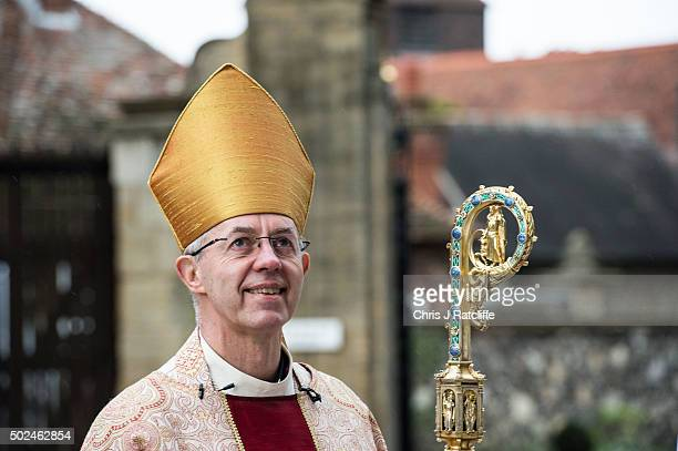 The Archbishop of Canterbury, Justin Welby, arrives at the west door to deliver his Christmas Day sermon to the congregation at Canterbury Cathedral...