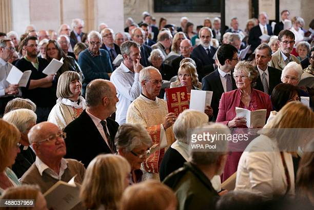The Archbishop of Canterbury Justin Welby arrives for a service to mark the 20th anniversary of the ordination of women as priests in the Church of...