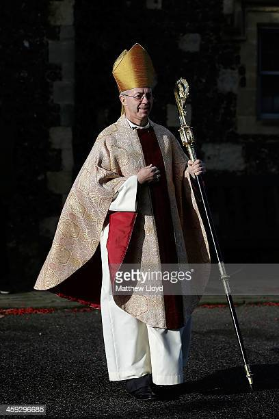 The Archbishop of Canterbury Justin Welby arrives for Christmas Day Mass at Cantebury Cathedral on December 25 2013 in Canterbury England Today marks...