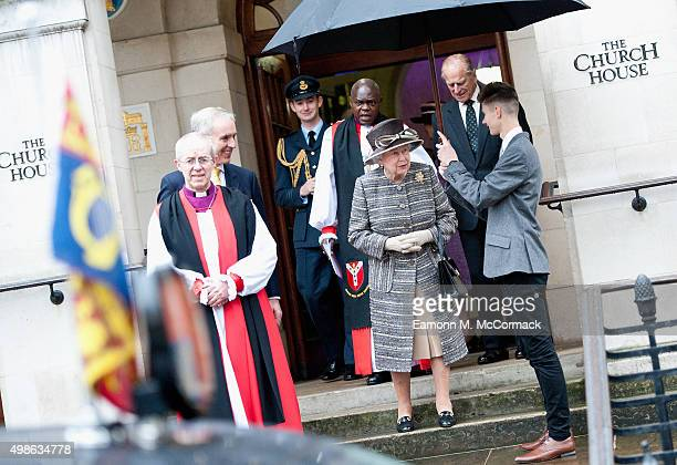 The Archbishop of Canterbury Justin Welby bids farewell to Queen Elizabeth II and Prince Philip Duke of Edinburgh as they depart the Inauguration Of...