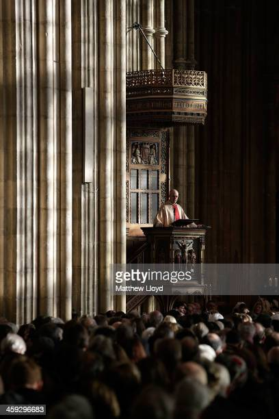The Archbishop of Canterbury Justin Welby delivers his Christmas Day sermon at Cantebury Cathedral on December 25 2013 in Canterbury England Today...